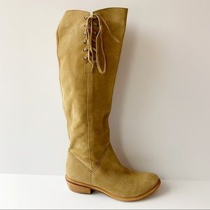 BX By Bronx Boots Knee High Lace Up Suede Tan 38